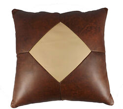 AMISH LEATHER QUILT PILLOW 15quot; Handmade in 5 Patch Design Exquisite Look amp; Feel $89.97
