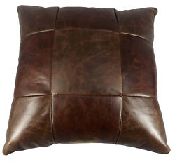 AMISH LEATHER QUILT PILLOW 15quot; Handmade in 9 Patch Design Exquisite Look amp; Feel $89.97