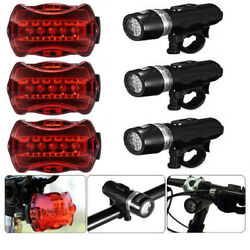 3 Set Waterproof 5 LED Lamp Bike Bicycle Front Head Light+Rear Safety Flashlight $11.98