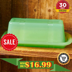 Classic Country Butter Dish Vintage Green Glass Lid Jadeite Cover FREE SHIPPING $17.99