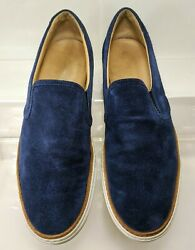 Barneys New York Suede Slip On Casual Sneaker Men's Size 12 Blue Made in Italy $54.95