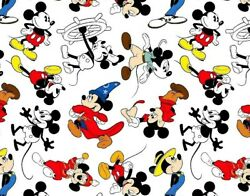 FAT QUARTER  DISNEY FABRIC MICKEY MOUSE  THROUGH THE YEARS  CLASSIC  COTTON  FQ $5.95