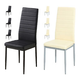 5 Piece Dining Table Sets Glass Metal 4 PU Leather Chairs Kitchen Room Furniture $219.99