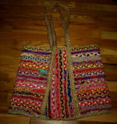 Wool cotton hand made bag NATURE indian style Size L $19.00