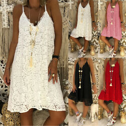 Plus Size Women Dress Strappy Summer Beach Loose Baggy Tunic Lace Sundress S-5XL $16.62