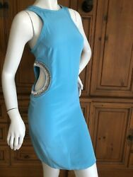 Emilio Pucci Mod Turquoise Silk Mini Dress with Bead and Crystal Cut Outs NWT $700.00