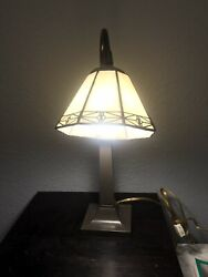 Vintage Stain Glass Shade Antique Mission Style Office Desk Light $65.00