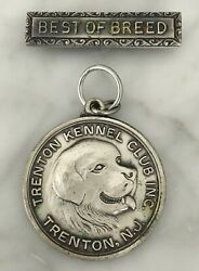 Vintage Sterling Best Of Breed Trenton Kennel Club Dog Award Medal Silver Pin $34.99