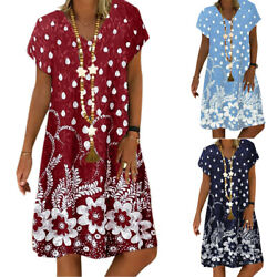 Womens Casual Print Short Sleeve Dress Ladies Summer V-Neck Loose Dresses Beach $17.66
