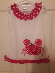 Boutique Beach Appliqued Crab Top  Dress Girls 4 5 White Red  $14.50