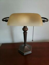 Alera LMP537BZ 16 in. Traditional Bankers Lamp Amber Shade with Antique Bronz... $42.99
