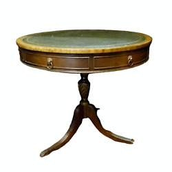 Antique Table Leather Top Drum Regency Style Green 29.5 Ins H 32 ins Dia. $895.06