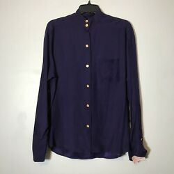 NWT Chanel Vintage 100% Silk Royal Purple Crest CC Button Down Tunic Size 42