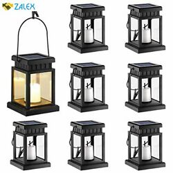 GIGALUMI 8 Pack Solar Hanging Lantern Outdoor Candle Effect Light with Stake fo $69.46