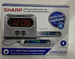 Sharp Digital Alarm Clock with 2 Ultra Fast Charging USB Quick Charge Ports - $12.99