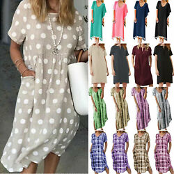 Women Loose Tunic Midi Dress Summer Casual Baggy Sundress Beach Holiday Dresses $22.41