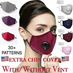 Cotton Cloth Face Mask Adjustable Reusable Washable Breathable with ValveFilter $6.99