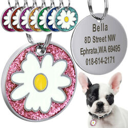 Flower Personalized Dog Tags Puppy Cat Customized ID Nameplate Laser Engraving $5.99