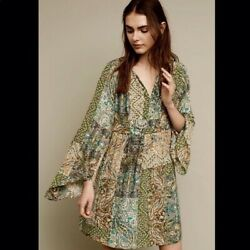 FLOREAT ANTHROPOLOGIE AMELIE KIMONO SLEEVE GREEN BOHO SILK MINI DRESS 2 NWOT $49.99