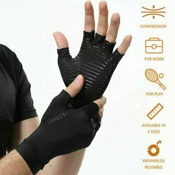 1 PAIR Copper Arthritis Compression Gloves Hand Support Joint Pain Relief USA $5.95