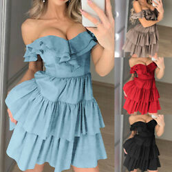 Womens Off Shoulder Ruffle Short Mini Dress Pleated Frill Party Bandeau Sundress $16.90