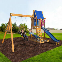 Wooden Swing Set Kids Slide Outdoor Backyard Playground Play set Clubhouse $489.99