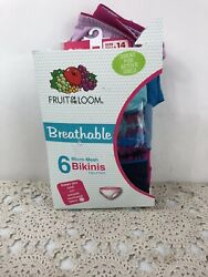 Fruit Of The Loom Girls 6 Pack Assorted Breathable Micro Mesh Bikinis Size 14 $12.99
