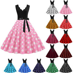 Women's Retro Polka Dot 50s 60s Vintage Swing Dress Prom Evening Party Dresses $20.13