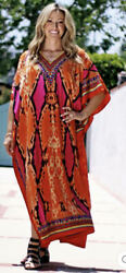Bonnie snake print coral Kaftan (one size fits most) Includes A Pair Of Earrings $35.00