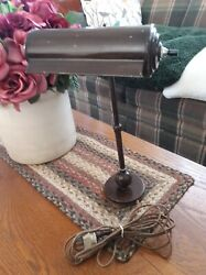 ANTIQUE METAL ARTICULATING STUDENT BANKERS DESK TABLE LAMP 30s40s $40.00