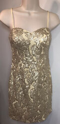 Hannah S Gold Sequin Short Cocktail Dress Women's Size 4 Party Nude Gold $26.99