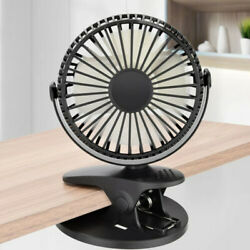 US 360° Rotation Fan Clip On Table Desk Baby Stroller Fans Personal Cooling USB $10.44