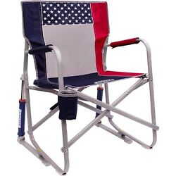 GCI Outdoor Freedom Rocker Chair USA Flag Red White and Blue Folding Camping $64.99