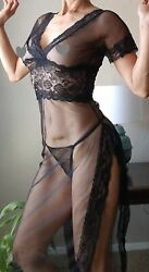Black Sheer Sexy Lingerie Sleepwear Transparent Night Gown Lace Large (2) $16.50