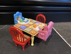 LOVING FAMILY Grand Mansion Dollhouse KITCHEN TABLE Chairs BABY Seats Furniture $19.00