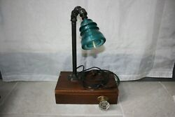 Handmade Industrial Pipe Desk Lamp steampunk style with vintage edison bulb $245.00