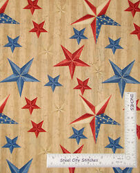 Patriotic Star Cotton Fabric Country Primitive Wilmington We The People Yard $11.25
