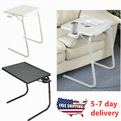 Portable Foldable TV Table Adjustable Tray Lazy Laptop Desk W/No Cup Holder $29.99