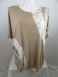 INC International Concepts Woman Size 3X Taupe Tie Dye Embellished Oversized Top