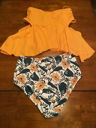 Women#x27;s Two Piece Swimsuit High Waisted Orange Floral Leaf Size Medium $23.00