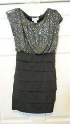 Sweet Storm Womens Silver Black Layered Party Evening Dress Size L $19.99