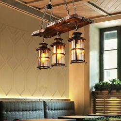 3 Lights Island Lighting Farmhouse Chandeliers for Dining Rooms Wood Rectangular $119.01
