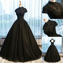 Black Gothic Wedding Dresses High Collar Beaded Appliques Vintage Bridal Gowns