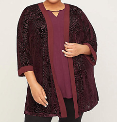 Catherine#x27;s 3X 26 28 Top Velvet Cascade Textured Burnout Open Ft Mulled Wine $70 $20.19