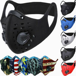 Face Mask Reusable Sport Cycling Cover Dual Air Valve W Activated Carbon Filter $7.88