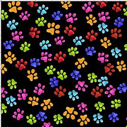 Paw Beans Prints Cat Dog Kitty Pupper Black Rainbow Cotton Fabric Loralie Design $11.20