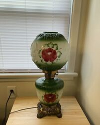 Vintage Green Floral Gone with the Wind Lamp Electric Parlor Light Table Rose $110.00