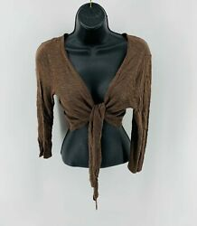 It's Our Time Women's Wrap Crop Top Sexy Long Sleeve Brown Size Small $9.80