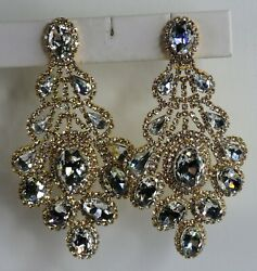 J47 GIGANTIC Chandelier Clip On Earrings Crystal Glass Rhinestone Statement 4quot; $35.37