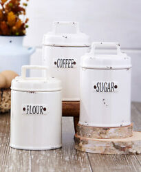 White Rustic Country Farmhouse Distressed Airtight Canisters Flour Sugar Coffee $10.97